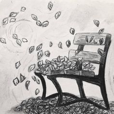 """Today's inktober is """"dizzy"""". Since it's been so windy lately here in Trondheim, what first came to mind was drawing a small leaf tornado. I went with a subtler aesthetic and drew a park bench with flying leaves. Hope you guys like it! Leaf Drawing, Nature Drawing, Autumn Park, Trondheim, Small Leaf, Inktober, Amazing Art, Bench, Leaves"""