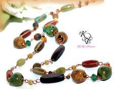 Jasper Necklace, Gemstone Necklace, Gift for Her, Copper Necklace, Wire Wrapped Necklace, Stone Necklace, Porcelain Necklace, Birthday Gift