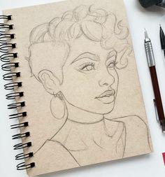 Girl Drawing Sketches, Art Drawings Sketches Simple, Pencil Art Drawings, Cool Drawings, Drawing Ideas, Woman Drawing, Drawing Women, Sketches Of Women, Pencil Sketching