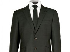 World's Most Sustainable Suit from Marks & Spencer, Global Organic Textile (GOTS)-certified organic wool, a lining derived from recycled plastic bottles, recycled-polyester canvas interfacing, reclaimed buttons and pockets, a repurposed waistband, and recycled-polyester labels.