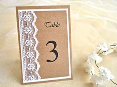 Rustic wedding table numbers (set of 5), lace table numbers, table numbers