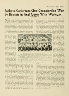 """The Ohio Alumnus, November 1935. """"Buckeye Conference Grid Championship Won By Bobcats in Final Game With Wesleyan."""" :: Ohio University Archives"""