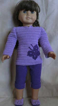 free crochet patterns for 18 inch dolls | Crochet Pattern 183 Purple Capri Set For 18 Inch by barbsdolls, $2.75