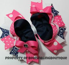 Hey, I found this really awesome Etsy listing at http://www.etsy.com/listing/151699936/navy-and-hot-pink-summer-hair-bow-cute