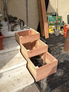 planter boxes beside front steps - Google Search Deck Steps, Porch Steps, Front Steps, Raised Garden Beds, Raised Beds, Deck Planters, Deck Planter Boxes, Balcony Deck, Indoor Planters