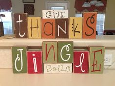 Gypsy's Nook: Thanksgiving and Christmas Reversible Blocks diy ... With fonts