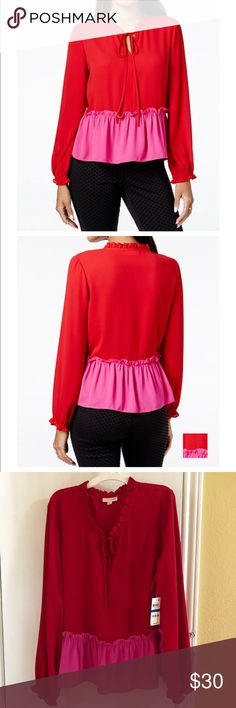 Maison Jules  Ruffled Color blocked Top Maison Jules finished red/pink blouse with a keyhole front when tied. Ruffled trim at neckline, waist and cuffs.                                                                                   Machine washable                                                                100 % Polyester                                                                 Sorry No Trades Maison Jules Tops Blouses