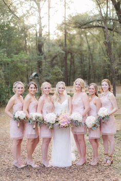 Bride with bridesmaids in blush |  PSJ Photography  | see more at…