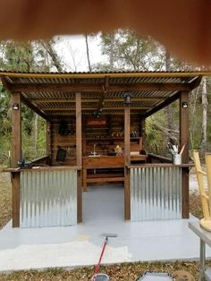 I built this one last year. Outdoor Tiki Bar, Outdoor Grill Area, Outdoor Grill Station, Outdoor Bbq Kitchen, Grill Gazebo, Backyard Gazebo, Backyard Kitchen, Backyard Patio Designs, Outdoor Kitchen Design