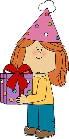 Birthday Girl with Birthday Gift