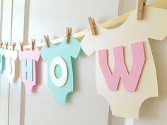 Bebé mono una sola pieza BABY SHOWER Banner: Blush