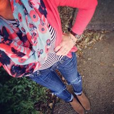 The stripes are perfectly chic with a floral scarf and bright cardigan and the jeans with ankle boots are perfect - Sugarplum Style, Vol. Fall Winter Outfits, Spring Outfits, Spring Summer Fashion, Autumn Winter Fashion, Spring Style, Pretty Outfits, Cute Outfits, Floral Scarf, Womens Scarves