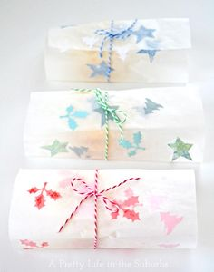 DIY Pretty Packaging for Edible Gifts  |  Using wax paper, paper cut outs, and and iron, and you've got pretty & practical wrapping paper for your edible treats!