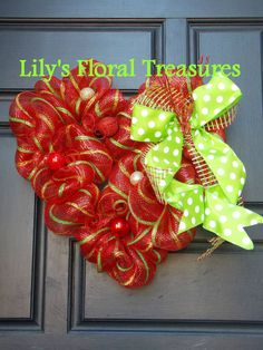 Valentine's Heart Deco Mesh Wreath by LilysFloralTreasures on Etsy