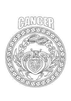 Adult Coloring Page Zodiac Cancer by PatternPixie on Etsy --> For the best adult coloring books and supplies including watercolors, colored pencils, gel pens and drawing markers, go to our website at http://ColoringToolkit.com. Color... Relax... Chill.