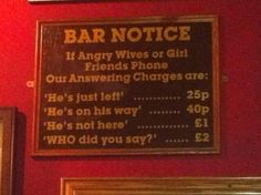sign in a pub