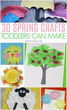 Easy and fun spring crafts for toddlers - simple ideas with chicks, sheep, weather crafts and spring tree crafts by tanisha Daycare Crafts, Preschool Crafts, Spring Activities, Toddler Activities, Crafts For Kids To Make, Kids Crafts, April Preschool, Kindergarten Fun, Spring Toddler Crafts