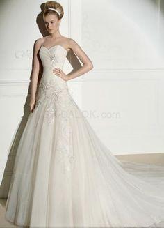 Ivory Net Sweetheart Applique 2012 Wedding Dress