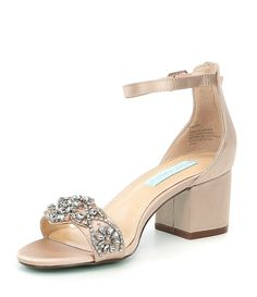 wedding shoes tacones Blue by Betsey Johnson Mel Bejeweled Satin Block Heel Dress Sandals Wedding Shoes Bride, Blue Wedding Shoes, Wedding Boots, Wedding Shoes Heels, Bride Shoes, Wedding Shoes Block Heel, Sandals Wedding, Prom Heels, Wedding Dresses