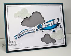plane well coloured and I like the way she did the clouds. Made with PTI Fly Away Birthday Cards For Men, Handmade Birthday Cards, Card Birthday, Handmade Cards, Card Tags, I Card, Leaving Cards, Making Greeting Cards, Kids Cards