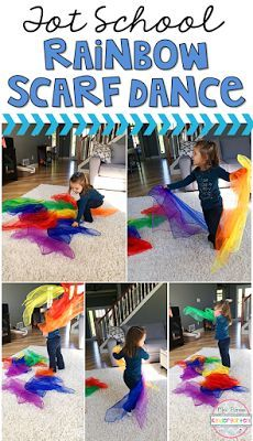 Tot School: Weather Learning is more fun when it involves movement! Have fun getting those wiggles out with this rainbow scarf dance gross motor activity. Great for tot school, preschool, or even kindergarten! - Home School Preschool Weather, Preschool Classroom, Toddler Preschool, Toddler Activities, Preschool Activities, Dance Activities For Kids, Nursery Activities, Preschool Learning, Classroom Ideas