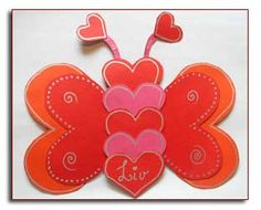 a paper butterfly made of hearts glued together :) www. Love Valentines, Valentine Crafts, Valentine Day Cards, Diy And Crafts, Crafts For Kids, Paper Crafts, Kids Barn, Mother's Day Diy, Holidays With Kids