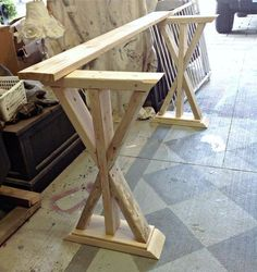 DIY rustic sofa table Would like to bar stools for down in the basement!