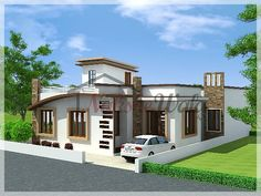 Single Storey Elevation | 3d Front View for Single Floor