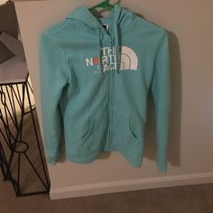 The North Face zip up jacket Gorgeous teal NORTH FACE zip up jacket. LITERALLY WORN ONCE!! Excellent condition! **can negotiate prices** The North Face Jackets & Coats
