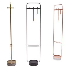 Chinese studio Neri&Hu has designed a minimal coat rack for Offecct that combines metal, leather and concrete.The Mr O hanger is made from tubular steel bent into a rectangular frame and finished in black, gold or copper.