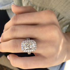 5.20 carat Henri Daussi diamond engagement ring with diamond halo. This diamond is a SI2 in clarity and J in color. It is valued at $72,900. #5carat #henridaussi #diamond #engagementring #halo #diamondsdirect