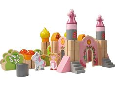 """""""Haba Wooden Building Blocks Big Enchanted Castle"""" The most beautiful blocks! My little girl would have so much fun while learning to build the castle. So many fairytale adventures she would have with the princess and her unicorn. Wooden Blocks For Kids, Wooden Building Blocks, Kids Blocks, Transformers, Enchanted Castle, Wooden Baby Toys, Green Toys, Wooden Buildings, Toddler Dolls"""