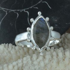 925 SOLID STERLING SILVER NEW STYLE Labradorite EXCLUSIVE RING 3.60g R9659 SZ-8 #Handmade #Ring