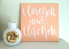 I love you and I like you Parks and Rec quote canvas by ADEprints