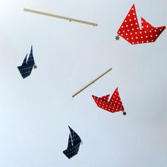 Southern Cross Sail Boats - Red & Blue Polka Dot Cotton Fabric Origami Nursery Mobile with Gift Box