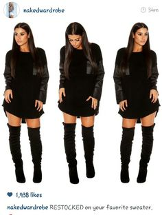 c20e427058f Super in love with these sweater dresses from Naked Wardrobe!! The faux  leather is