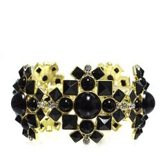 "Fashion Stretch Bracelet; 1.5"" L; Gold Metal; Black Gemstones; Clear Rhinestones; Eileen's Collection. $24.99"