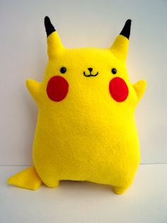 Pokemon Pikachu Plush -- adorable, handmade Pikachu. 12 inches tall, double-stitched and handmade using high-quality fleece. Beautiful!