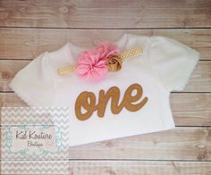 Pink and Gold First Birthday shirt and Coordinating by KoutureKid