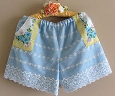 Vintage Baby Blue Eyelet Shorts With Vintage Flowered by IzzyRoo