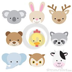 Illustration of cute animal face set.