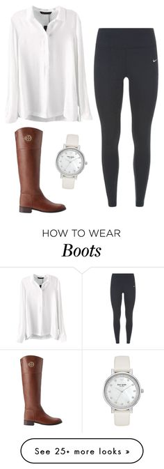 """""""Riding Boots"""" by haileycarr23 on Polyvore featuring NIKE, Tory Burch, Kate Spade, women's clothing, women, female, woman, misses and juniors"""