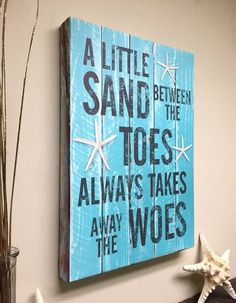 Beach Decor Quote on Canvas Art, A Little Sand Between The Toes