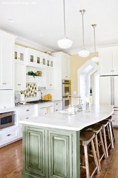 Tall White Kitchen Cabinets | Green Island | Yellow Paint | Lettered Cottage