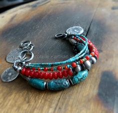 Turquoise Bracelet and Raw Sterling Silver - Artisan Jewelry - Boho Style - Red Coral Bracelet - Hippie Bracelet - Charms Bracelet by COTELLE on Etsy https://www.etsy.com/listing/245033523/turquoise-bracelet-and-raw-sterling
