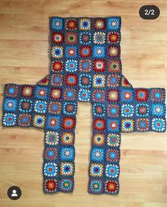 Crochet Motifs, Crochet Quilt, Granny Square Crochet Pattern, Crochet Squares, Crochet Granny, Crochet Stitches, Crochet Baby, Crochet Patterns, Pull Crochet