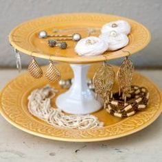 These easy DIY cake stands and cupcake platters are great not only for showcasing sweets but can also be quite nice for displaying jewelry.