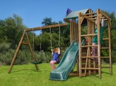 Dunster House JuniorFort Monkey Wooden Children's Outdoor Climbing Frame Play Tower with Monkey Bars, Swings & Slide – Pressure Treated Timber Playground Swing Set, Backyard Playground, Backyard Ideas For Small Yards, Backyard For Kids, Wooden Climbing Frame, Climbing Frames, Climbing Wall, Simple Tree House, Pressure Treated Timber