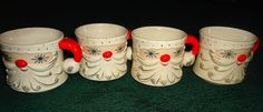 set STARRY EYED SANTA HOLT HOWARD vtg CHRISTMAS 1960 4 mugs cups 1960 Just won these on eBay and am SO excited for them to arrive!!!!