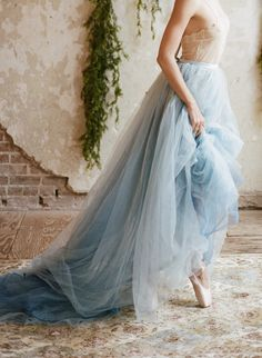 Dusty Blue Wedding Gown Short - ivory lace and dusty blue tulle long bridal dress Blue Beach Wedding, Blue Wedding Dresses, Wedding Gowns, Formal Dresses, Tulle Wedding, Wedding Skirt, Wedding Flowers, Light Blue Wedding Dress, Light Wedding